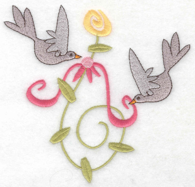 Embroidery Design: Anniversary doves large 4.93w X 4.74h