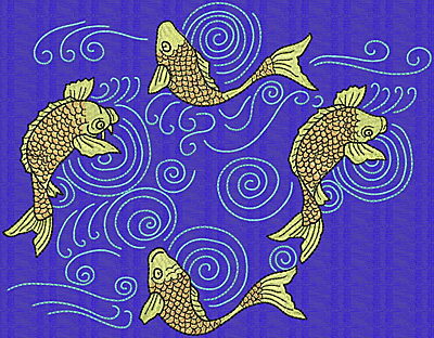 Embroidery Design: Koi J 7.68w X 9.86h