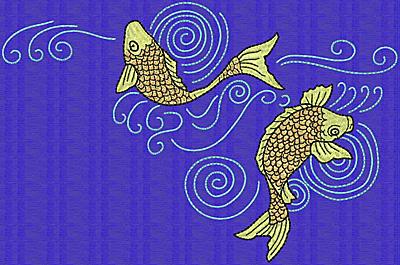 Embroidery Design: Koi Q  6.03w X 9.14h
