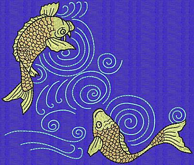 Embroidery Design: Koi R 5.90w X 7.01h