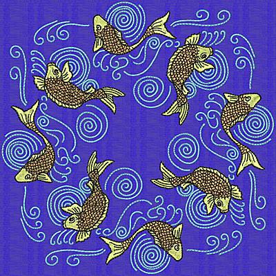 Embroidery Design: Koi V 7.69w X 7.69h