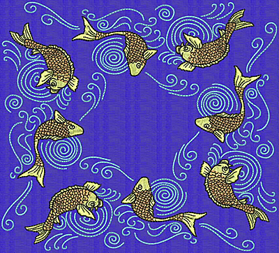 Embroidery Design: Koi X 7.69w X 8.49h