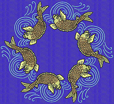 Embroidery Design: Koi CC 6.48w X 7.08h