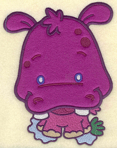 Embroidery Design: Hippo large applique 5.31w X 6.87h