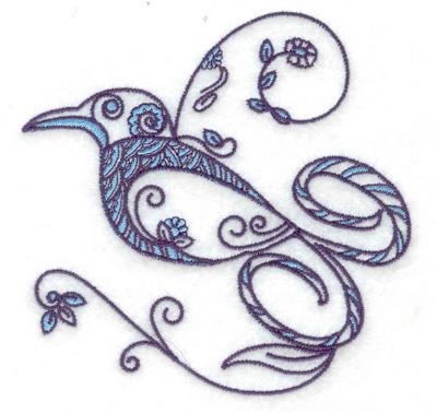 Embroidery Design: Bird J small 3.89w X 3.83h