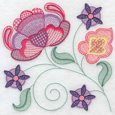 Embroidery Design: Floral A large 7.02w X 7.00h
