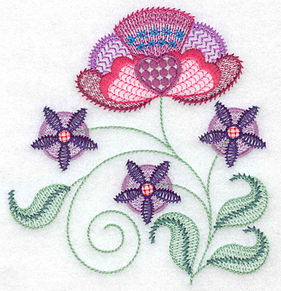 Embroidery Design: Floral B 4.69w X 4.96h