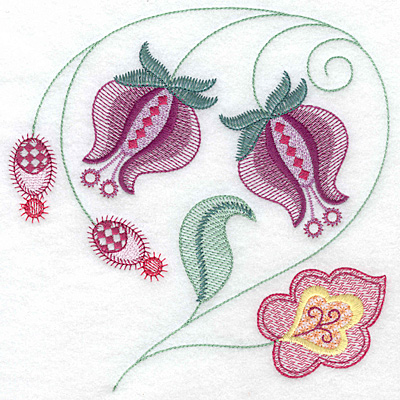 Embroidery Design: Floral D large 7.01w X 7.05h