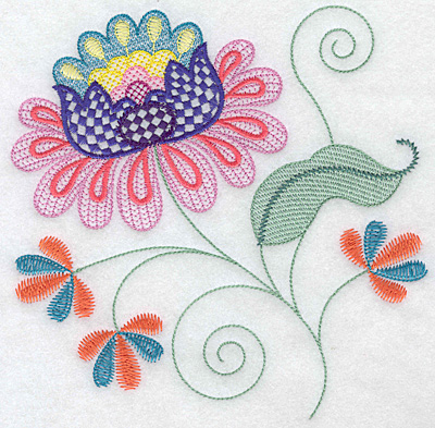 Embroidery Design: Floral G large 7.02w X 7.02h