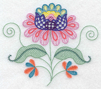 Embroidery Design: Floral H  5.61w X 4.89h