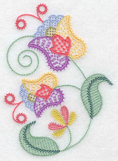Embroidery Design: Floral K 3.54w X 4.98h