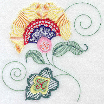 Embroidery Design: Floral M large 7.00w X 7.09h