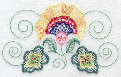 Embroidery Design: Floral N  6.94w X 4.30h