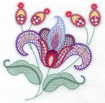 Embroidery Design: Floral P  4.97w X 4.96h