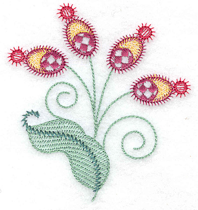 Embroidery Design: Floral buds and leaf 3.54w X 3.87h