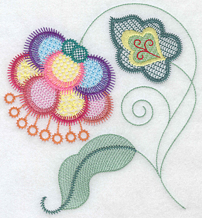 Embroidery Design: Floral Q large 6.58w X 7.09h