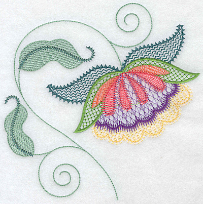 Embroidery Design: Floral T large 7.05w X 7.17h