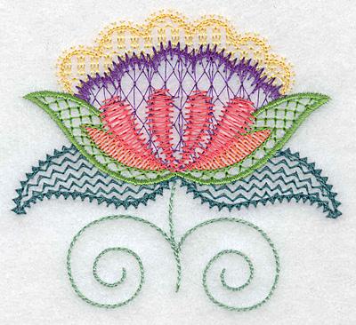 Embroidery Design: Floral U  3.87w X 3.50h