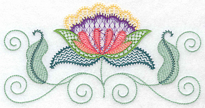 Embroidery Design: Floral V 6.98w X 3.58h