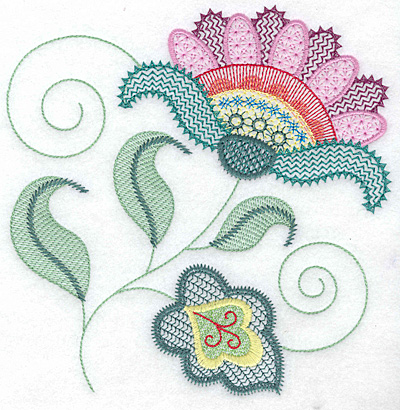 Embroidery Design: Floral W large 7.04w X 7.16h