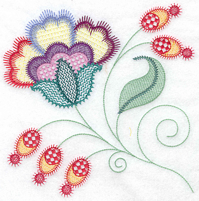 Embroidery Design: Floral Y large 7.07w X 7.07h