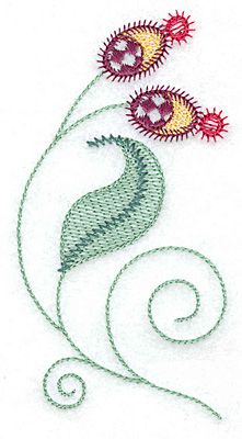 Embroidery Design: Buds and leaves 2.45w X 4.60h