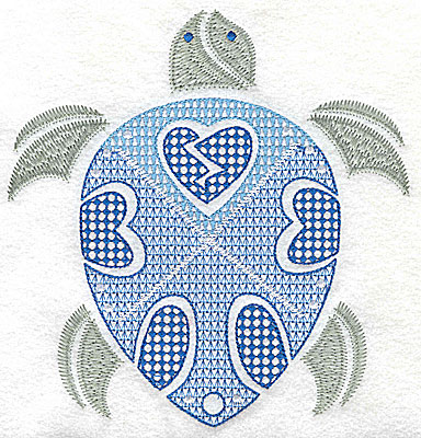 Embroidery Design: Sea Turtle D large 6.62w X 6.92h