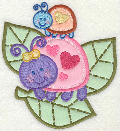 Embroidery Design: Bugs on leaves4.93w X 5.50h