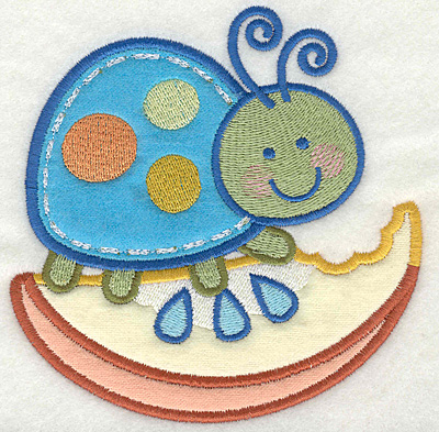 Embroidery Design: Bug on fruit4.81w X 4.87h
