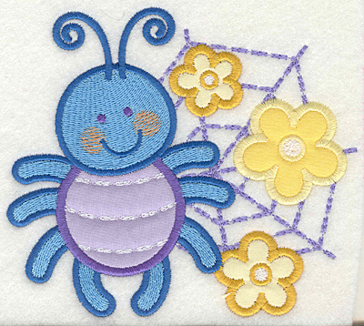 Embroidery Design: Bug on web 5.43w X 4.93h