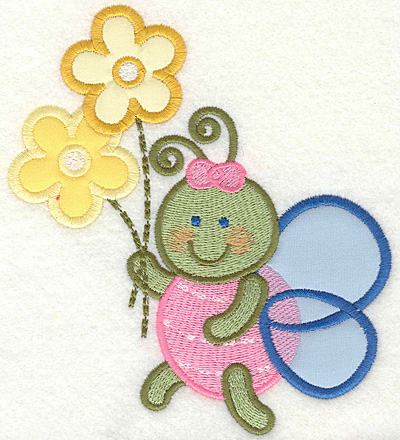 Embroidery Design: Bug with flowers4.93w X 5.62h