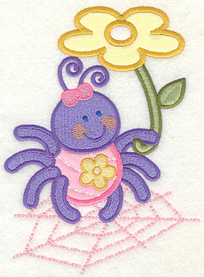 Embroidery Design: Bug with flower on web 4.93w X 6.75h