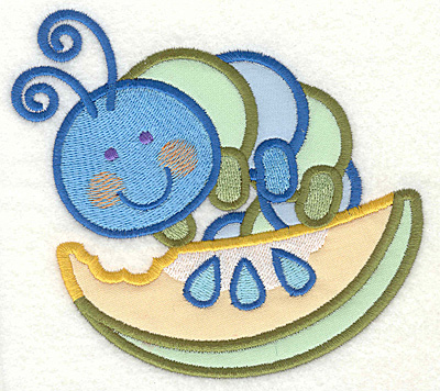 "Embroidery Design: Bug on Watermelon4.63"" X 4.93"""