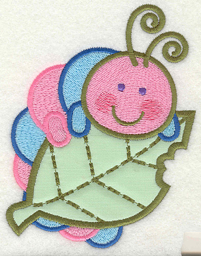 Embroidery Design: Caterpillar eating leaf 3.75w X 4.93h