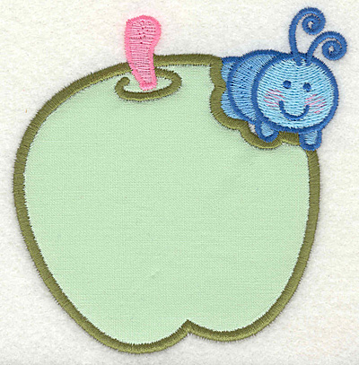Embroidery Design: Caterpillar on apple 4.00w X 4.31h