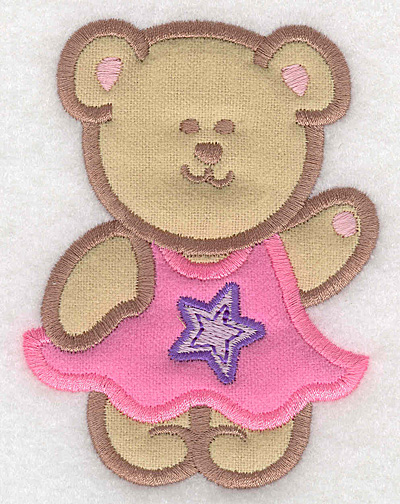 Embroidery Design: Teddy Bear girl double applique small2.95w X 3.90h