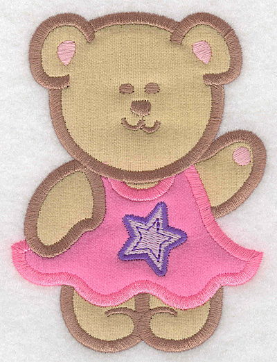 Embroidery Design: Teddy Bear girl double applique large3.77w X 5.00h