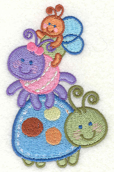 "Embroidery Design: Adorable Baby Bugs  2.43"" X 3.87"""