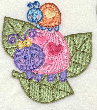 "Embroidery Design: Bugs on a Leaf  3.43"" x 3.87"""
