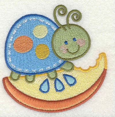 "Embroidery Design: Bug on a Fruit  3.37"" x 3.43"""