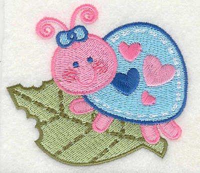 "Embroidery Design: Bug Eating Leave  3.25"" x 2.93"""