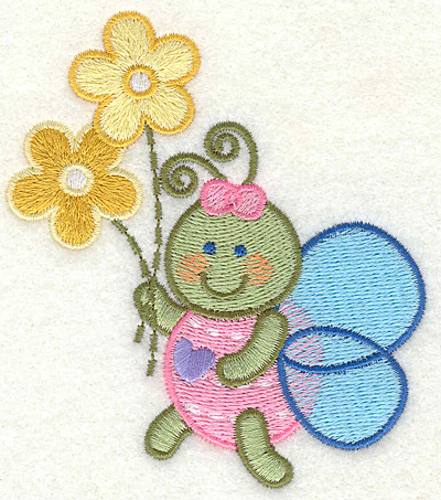 "Embroidery Design: Bee Holding Flowers  3.37"" x 3.87"""