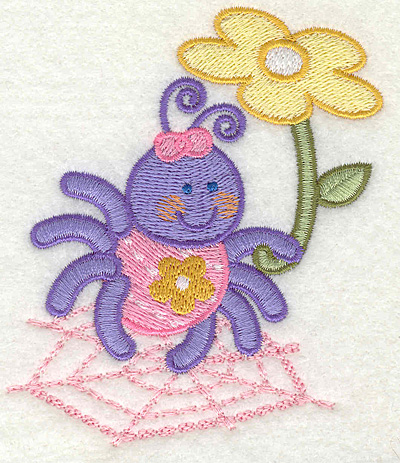 """Embroidery Design: Spider on a Web Holding Flowers 3.37"""" x 3.93"""""""