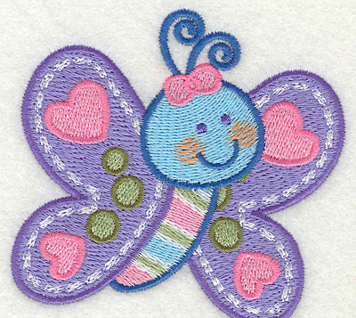 "Embroidery Design: Blue Butterfly  3.43"" x 3.31"""