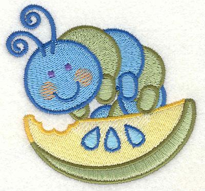 "Embroidery Design: Caterpillar On a Piece of Fruit  3.43"" x 3.25"""