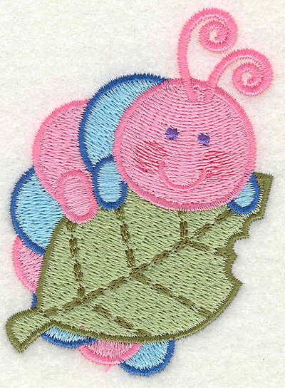 """Embroidery Design: Caterpilliar on a Leave  2.56"""" x 3.43"""""""