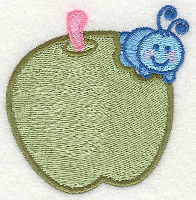 "Embroidery Design: Caterpillar Eating an Apple  2.75"" x 2.93"""