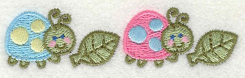 """Embroidery Design: Two LadyBugs with Leaves  3.43"""" x 0.87"""""""