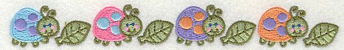 """Embroidery Design: Four LadyBugs with Leaves  6.93"""" x 0.87"""""""