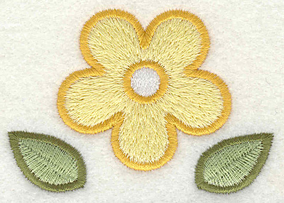 """Embroidery Design: Yellow Flower  2.93"""" x 2.06"""""""